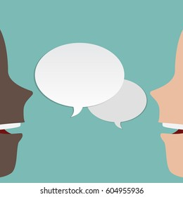 Two, 2 faces talk to each other. Two faces speaks. 2 different peoples speaking. Vector illustration with speech bubble.Black and white humans. Man and man. Vector illustration template