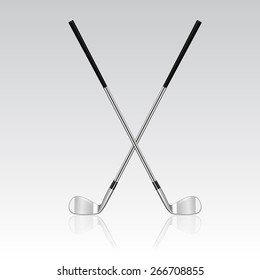 Two 3d realistic crossed golf clubs with reflection. Vector EPS10 illustration.