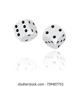 Two 3D white dice with reflection