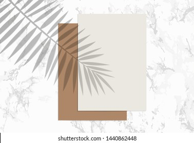 Two A4 Paper sheets on marble background. Mockup with overlay a palm leaf shadow. Natural lighting overlays shadow on top. Scene of Tropical Leaf Shadow from the window. Realistic vector illustration.