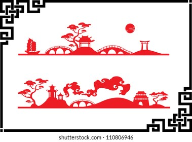 Two abstract Asian Landscape