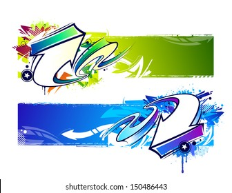 Two abstract graffiti banners. Bright dirty grunge vector illustration.