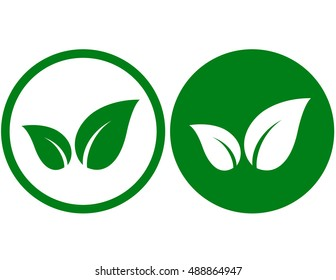 two abstract green leaf icons on button