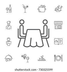 two abstract people sitting at a table isolated vector icon on the white background. Simple Set of restaurant Vector Line Icons.