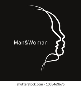 Two abstract profile of male and female. Icon man and woman, family therapy, logo psychologist. Vector illustration