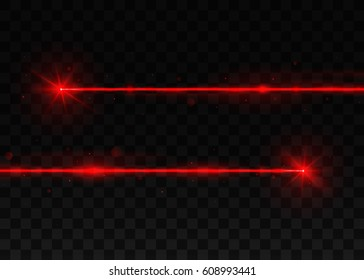 Two abstract red laser beams. Isolated on black background.