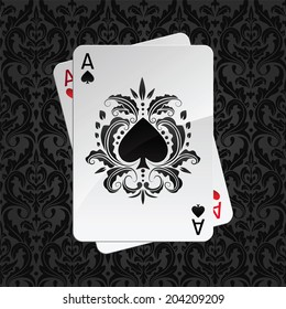 two aces playing cards on black seamless damask pattern(spades overlies)