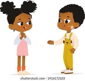 Two African American children talk to each other. School boy with vitiligo say hello to his new friend. Boy abd Girl School friends have fun.