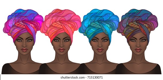 Two African American pretty girls. Vector Illustration of Black Woman with glossy lips and turban. Great for avatars. Illustration isolated on white.