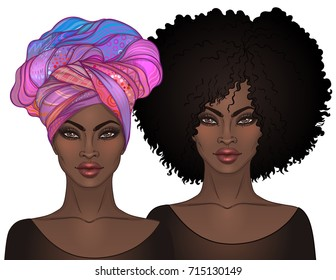 Two African American pretty girls with glossy lips. Vector Illustration of Black Woman. Afro and turban. Great for avatars. Illustration isolated on white.