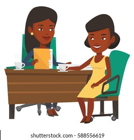 Two african-american women during business meeting. Businesswomen talking on business meeting. Women drinking coffee on business meeting. Vector flat design illustration isolated on white background.