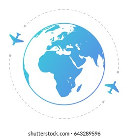 Two aircraft around the globe. Contour illustration.  Editable eps10 vector. Transparent background.