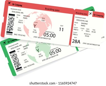 Two airline boarding pass tickets for plane for travel journey and holiday. Vector illustration