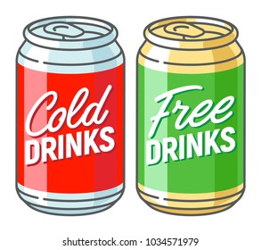 Two aluminum cans with the inscription - cold and free drinks. Vector illustration.
