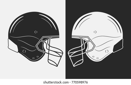 Two american football helmets. Black vs White. Vector illustration.