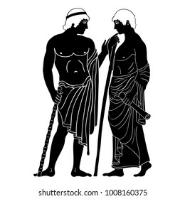Two ancient Greek mans stands with a staff and a paryrus in the arms and talks. Vector image stylized as an antique painting.