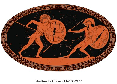 Two ancient Greek warrior Hector and Achilles with a spear and shield in his hands. Figure with an inscription Hector, in an oval frame.