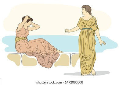 Two ancient Greek women are talking. Vector image isolated on white background.