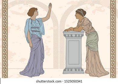 Two ancient Greek women in tunics have a dialogue.