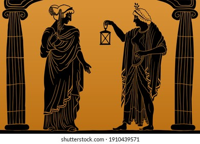 Two ancient greek young women with a laurel wreath on his head in a tunic and cape stands between two columns and holds a lantern in his hand.