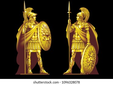 Two ancient heroes in gold armor with spears