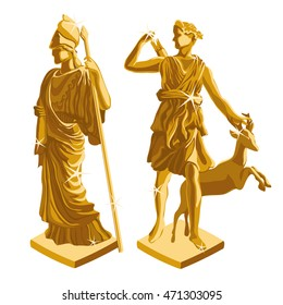 Two ancient statues made of gold isolated on a white background. Cartoon vector close-up illustration.