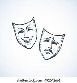 Two ancient traditional greek game human masks costume isolated on white background. Freehand outline ink hand drawn concept picture sign sketchy in retro artistic doodle graphic style pen on paper