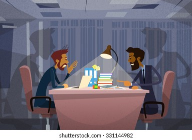 Two Angry Business Man Arguing Talking, Businessmen Chat Sitting Office Desk Concept Communication Problem Flat Vector Illustration