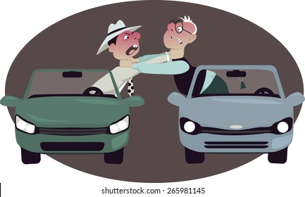 Two angry motorists strangling each other, leaning out of their cars, vector cartoon, no transparencies, EPS 8