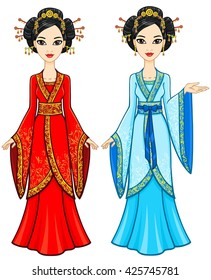 Two animation Asian girls in different poses in traditional clothes. Full growth. Vector illustration isolated on a white background.