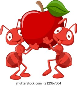 Two ants holding red apple