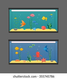 Two aquariums set with swimming exotic fish, seashells, weeds, lighting, vector illustration