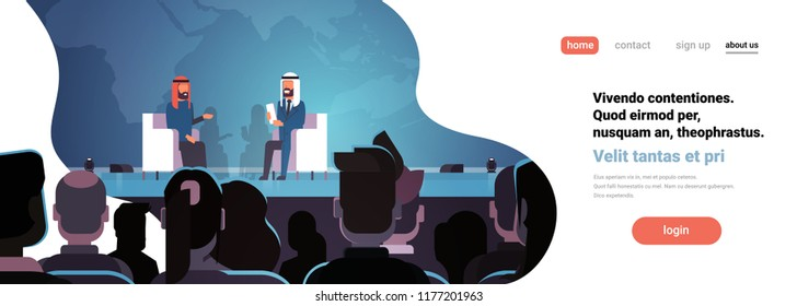 Two arab business men politicians conference debate meeting interview talking over world map big audience horizontal banner flat copy space vector illustration