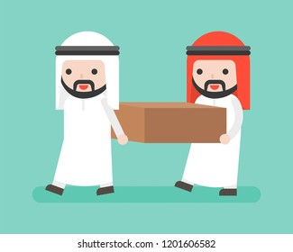 Two Arab businessmen carrying a block vector, flat design