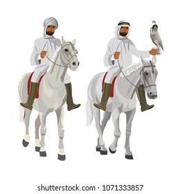 Two arab horsemen on falconry. Vector illustration isolated on white background