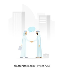 Two arabic businessmen shaking hands on a background of cityscape with skyscrapers. Business meeting, partnership, agreement concept. Flat vector illustration.