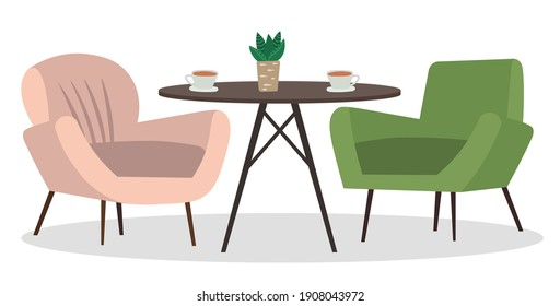 Two armchairs and a small table with coffee cups. Living room furniture design, modern home interior elements vector. Contemporary furniture for living room or home office. Modern chiar place to relax