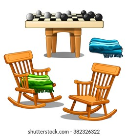 Two armchairs-rocking chairs and round checkers isolated on white background. Vector cartoon close-up illustration.