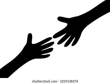 Two arms hands black silhouette reaching to each other. Child and mother. Close up body part. Helping hand. Happy Valentines day. Flat design. Love soul gift concept Isolated. White background. Vector