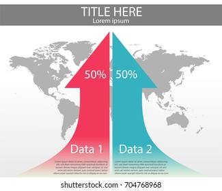 Two arrow indicate increase of data with world map background. Infographic vector presentation.