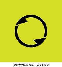 two arrows in circles design symbol vector