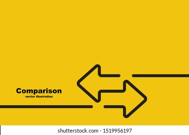 Two arrows are directed in different directions. Template comparison black line design. Confrontation logo. Glyph icon isolated on yellow background. Vector illustration flat style.