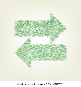 Two arrows left-right sign. Vector. Green hexagon rastered icon and noised opacity and size at light green background with central light.