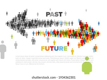 Two arrows made from people icons pointing forward to the future and backward to the past. Moment crossing concept illustration with past and future arrows.