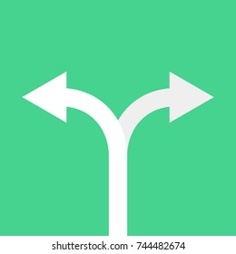 Two arrows pointing in different directions. Choice the way concept. Vector illustration.