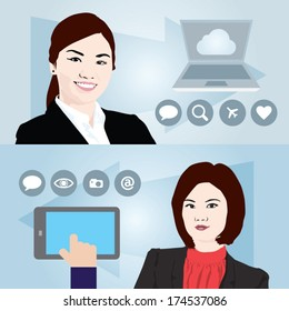 Two Asian Business women in a colorful template design. Vector illustration. Includes info-graphic icons.