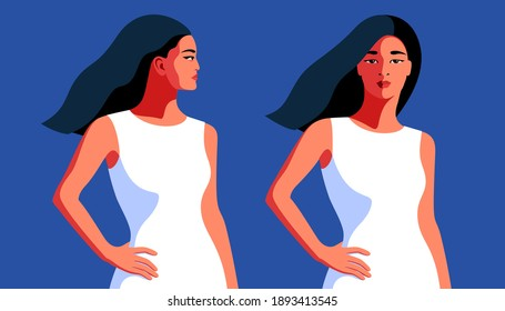 Two Asian girls, side and front view, with long flying hair, in white summer dress. Vector illustration