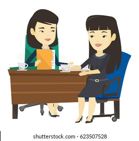 Two asian women during business meeting. Two businesswomen talking on business meeting. Businesswomen drinking coffee on business meeting. Vector flat design illustration isolated on white background.