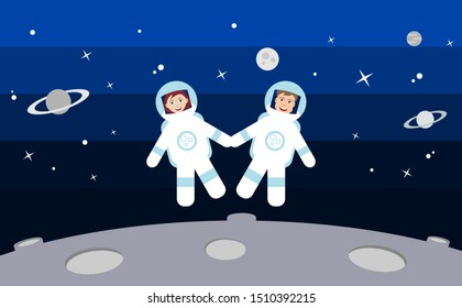 Two astronauts float in space holding hands. Happy man and woman in space suits smiling. Love, space travel, explore. Relationship thriving. Couple reaching new heights. Vector illustration,flat style