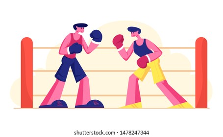 Two Athletic Men Wearing Gloves Boxing on Sports Ring. Couple of Male Characters Sportsmen Boxers Punching and Exchange Blows on Fighting Competition Attacking and Defending Flat Vector Illustration
